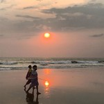 mandrem india goa sunset