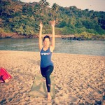 @instagram: #sunrise #sunsalutations #kashish #beach #yoga #palolem #travrlife